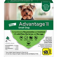 Advantage II Flea Treatment for Small Dogs, 3-10 lbs, 4 treatments