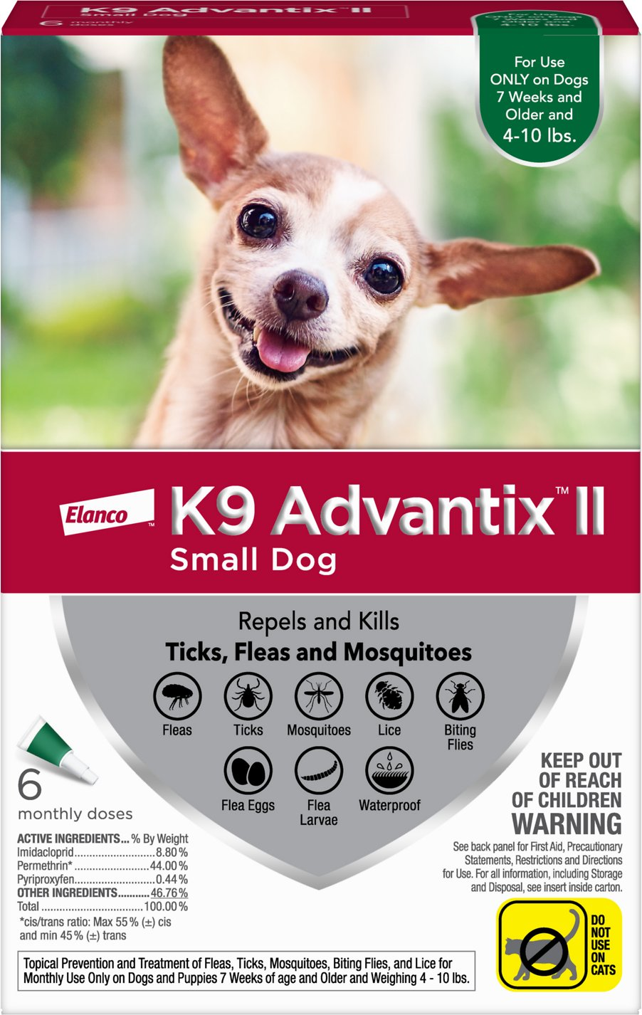K9 Advantix II Flea Tick Mosquito Prevention For Small Dogs Up To 4 10 Lbs