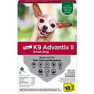 K9 Advantix II Flea & Tick Treatment for Small Dogs, 4-10 lbs, 6 treatments