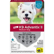 K9 Advantix II Flea & Tick Treatment for Medium Dogs 11-20 lbs, 6 treatments