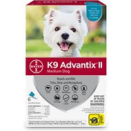 K9 Advantix II Flea, Tick & Mosquito Prevention for Medium Dogs 11-20 lbs, 6 treatments