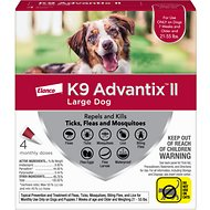 K9 Advantix II Flea, Tick & Mosquito Prevention for Large Dogs, 21-55 lbs, 4 treatments