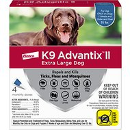 K9 Advantix II Flea, Tick & Mosquito Prevention for Extra Large Dogs, over 55 lbs, 4 treatments