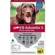 K9 Advantix II Flea & Tick Treatment for Extra Large Dogs, over 55 lbs, 6 treatments