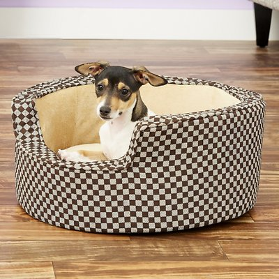 Awesome Kh Pet Products Round Comfy Sleeper Pet Bed Tan Brown Small Squirreltailoven Fun Painted Chair Ideas Images Squirreltailovenorg