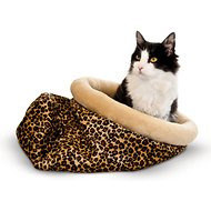 K&H Pet Products Self-Warming Kitty Sack Cat Bed, Leopard