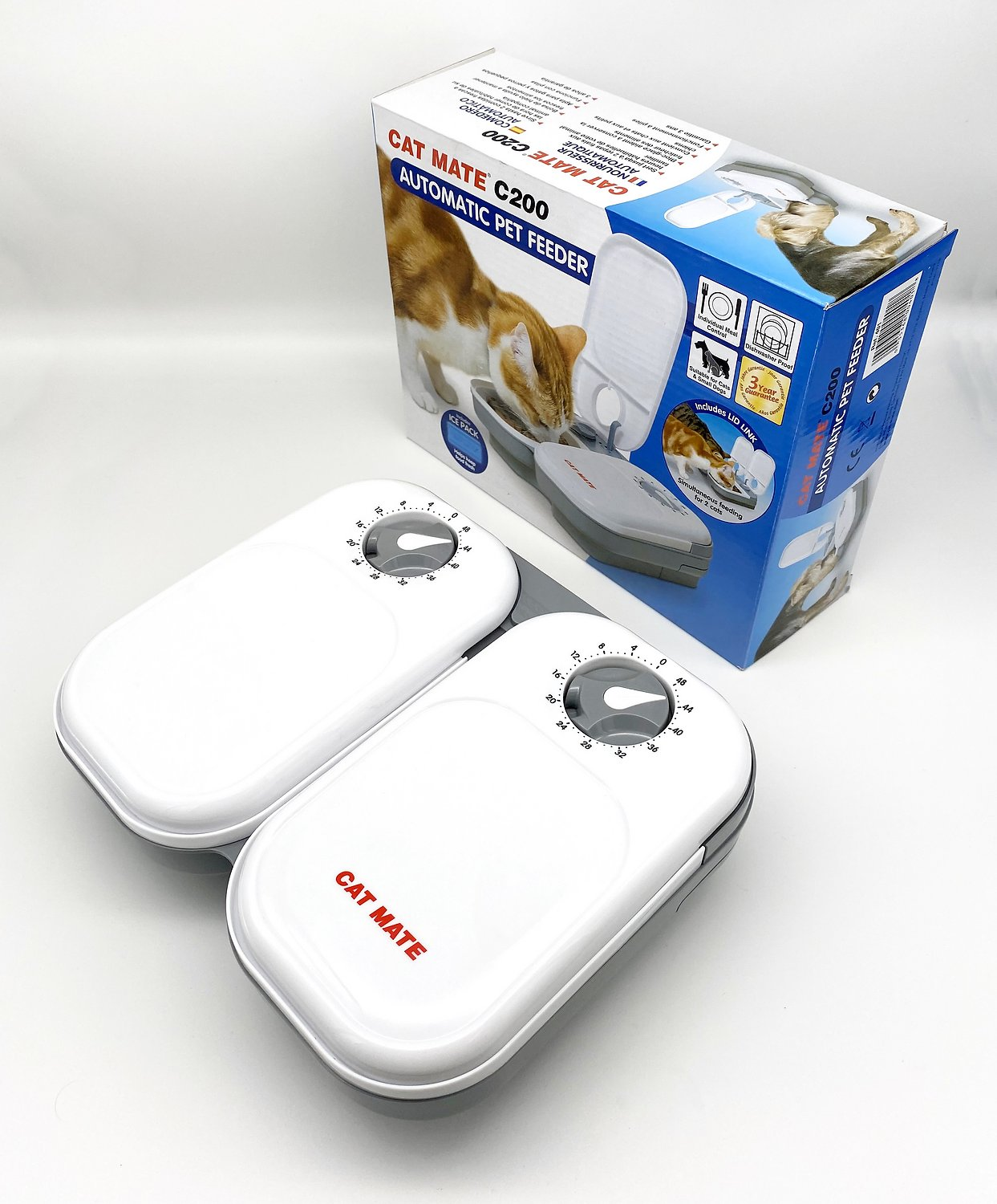 Cat Mate C20 2 Bowl Automatic Pet Feeder 48 Hour Chewy Com