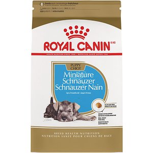 Royal Canin Miniature Schnauzer Puppy Dry Dog Food, 2.5-lb bag; This Royal Canin formula is designed exclusively for pure breed Miniature Schnauzers from 8 weeks to 10 months old. The Miniature Schnauzer has a coarse, wiry top coat and a thick undercoat and their skin can be sensitive. This formula is tailor-made for the specific needs of your lovable Miniature Schnauzer pup.