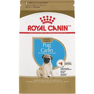 Royal Canin Pug Puppy Dry Dog Food, 2.5-lb bag; This Royal Canin formula is designed exclusively for pure breed Pugs from 8 weeks to 10 months old. Pugs are known for their brachycephalic jaw and short muzzle, which makes it harder for them to pick up some kibble. With a cloverleaf-shaped kibble and immense nutritional benefits, this formula is tail-made for your growing Pug puppy\\\'s specific needs.