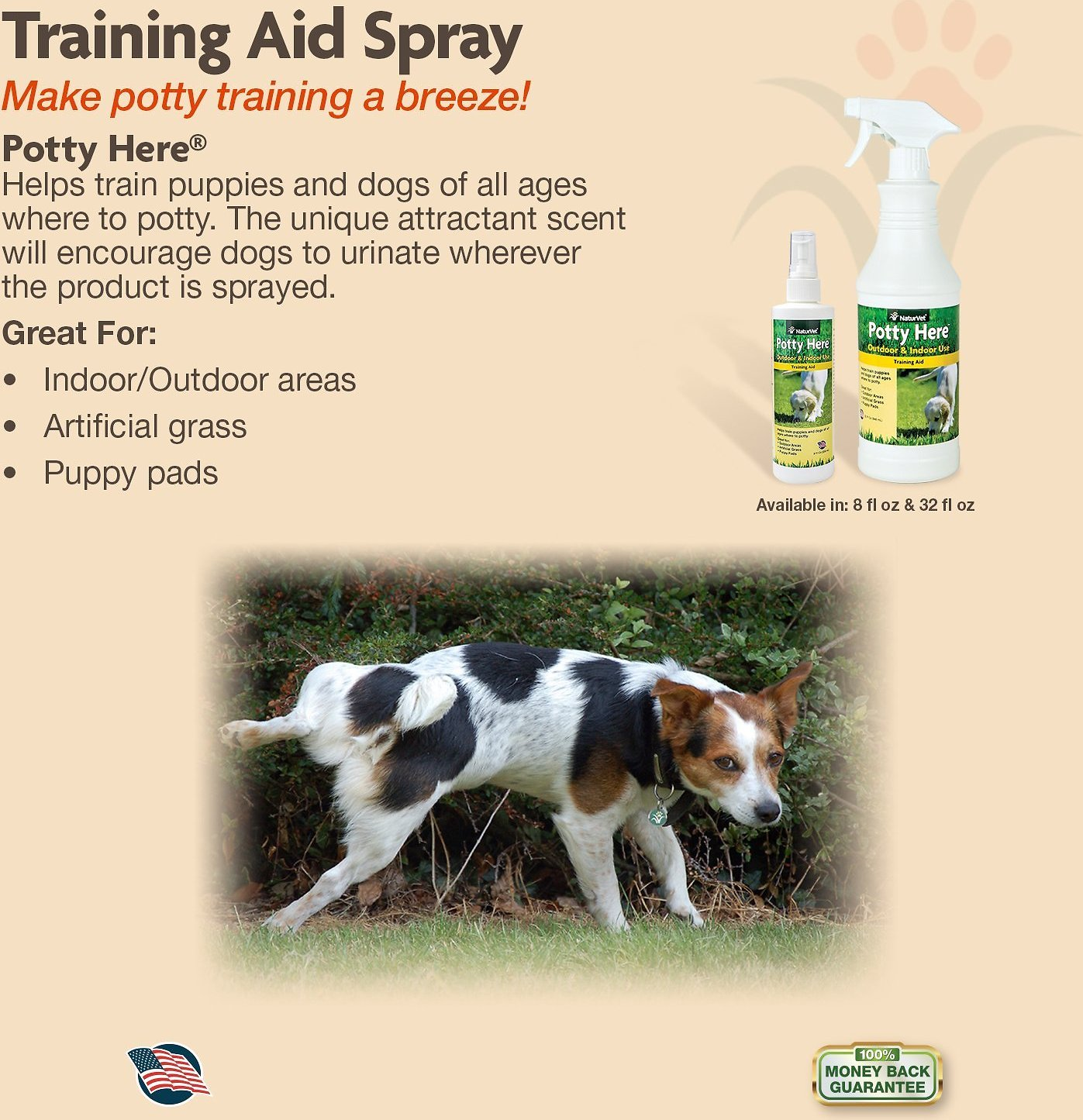 Naturvet potty here training aid 32 oz bottle chewycom for Dog potty training problems