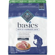 Blue Buffalo Basics Limited Ingredient Grain-Free Formula Duck & Potato Indoor Adult Dry Cat Food, 11-lb bag