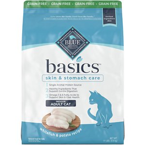 Blue Buffalo Basics Limited Ingredient Grain-Free Formula Fish & Potato Indoor Adult Dry Cat Food, 11-lb bag; Sometimes, less is more! Blue Buffalo's Basic Limited Ingredient Diet Grain-Free Formula Fish & Potato Indoor Adult Dry Cat Food is a delicious, limited-ingredient diet made with fewer ingredients for feline friends with food sensitivities. This recipe contains a single animal protein source with real fish first and includes pumpkin and easily digested carbohydrates. It's also crafted with BLUE's exclusive LifeSource Bits—a combination of selected antioxidants, minerals and vitamins picked by veterinarians and animal nutritionists to support your cat's overall health and wellness. Now your kitty really has something to purr about!