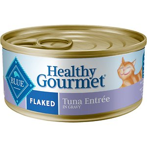 Blue Buffalo Healthy Gourmet Flaked Tuna Entree in Gravy Canned Cat Food, 5.5-oz, case of 24; Serve your feline friend the tasty tuna she loves with Blue Buffalo Healthy Gourmet Natural Adult Flaked Wet Cat Food. Purr-fect for your grown-up gal, this irresistibly tasty wet food is made using only the finest natural ingredients. It starts with tender pieces of high-quality tuna, packed with healthy fruits and veggies, then enhanced with vitamins and minerals. Formulated to support the nutritional needs of adult cats, the exclusively wholesome ingredients do not contain any by-product meals, corn, wheat, soy, artificial flavors or preservatives.