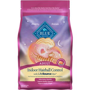 Blue Buffalo Indoor Hairball Control Chicken & Brown Rice Recipe Adult Dry Cat Food, 7-lb bag; Does your kitty cough up unsightly hairballs? Give her some kibble that's nutritious and oh-so-delicious! Blue Buffalo's Indoor Hairball Control Chicken & Brown Rice Recipe is made from some of the finest natural ingredients and enhanced with vitamins and minerals. This delectable food is crafted to help minimize hairballs and features real meat first and natural sources of fiber for optimal nutrient absorption. It also includes BLUE's exclusive LifeSource Bits—a combination of selected antioxidants, minerals and vitamins picked by veterinarians and animal nutritionists to support your cat's overall health and wellness. Now your paw-tner really has something to purr about!