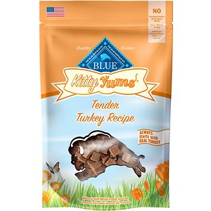 Blue Buffalo Kitty Yums Tender Turkey Recipe Cat Treats, 2-oz bag; Turn treat time into yum time with the Blue Buffalo Kitty Yums Tender Turkey Recipe Cat Treats.  Formulated to satisfy your little carnivore's cravings for meat, it's made with protein-rich turkey as the first ingredient, and wholesome brown rice, oatmeal and whisker-licking maple syrup to fuel all your kitty's adventures, and then yum. Each soft, moist bite is packed with lean protein, taurine, plus fish oil rich in omegas to support healthy muscles and overall health—not to mention the purrfectly irresistible flavor cats love. Give them out of the bag or toss them to give your pal the yummy thrill of the hunt!