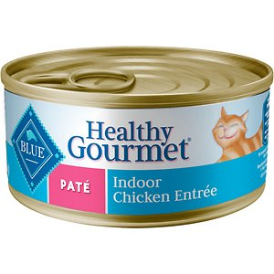 Blue Buffalo Healthy Gourmet Pate Chicken Entree Indoor Adult Canned Cat Food, 5.5-oz, case of 24; Keep your kitty companion purr-fectly satisfied with Blue Buffalo Healthy Gourmet Natural Adult Pate Wet Cat Food. Ideal for your grown-up gal, this irresistibly tasty wet food is made using only the finest natural ingredients. It starts with high-quality chicken, packed with healthy fruits and veggies, then enhanced with vitamins and minerals. Formulated to support the nutritional needs of adult cats, the exclusively wholesome ingredients do not contain any by-product meals, corn, wheat, soy, artificial flavors or preservatives.