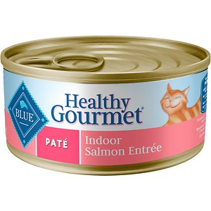 Blue Buffalo Healthy Gourmet Pate Salmon Entree Indoor Adult Canned Cat Food, 5.5-oz, case of 24; Treat your furry friend to a su-paw supper with Blue Buffalo Healthy Gourmet Natural Adult Pate Wet Cat Food. Purr-fect for your adult amigo, this irresistibly tasty wet food is made using only the finest natural ingredients. It starts with high-quality salmon, packed with healthy fruits and veggies, then enhanced with vitamins and minerals. Formulated to support the nutritional needs of adult cats, the exclusively wholesome ingredients do not contain any by-product meals, corn, wheat, soy, artificial flavors or preservatives.
