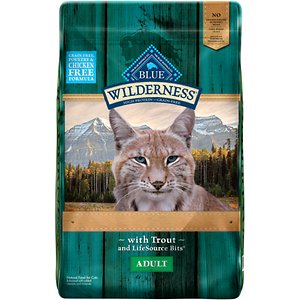 Blue Buffalo Wilderness Rocky Mountain Recipe with Trout Adult Grain-Free Dry Cat Food, 10-lb bag; Feed your kitty's wild side with the high-protein nutrition of Blue Buffalo Wilderness Rocky Mountain Recipe with Trout Adult Grain-Free Dry Cat Food. Made with real trout as the first ingredient and never any grains, wheat or by-products, it packs a powerful protein punch to support your little hunter's overall health and satisfy his cravings for meat with every bowl. It's loaded with antioxidant-rich LifeSource Bits―a unique blend of vitamins, minerals and superfoods to support immunity―plus omegas, taurine and essential amino acids for a complete, well-rounded diet for cats of all ages. Plus, it helps maintain healthy digestion for happy tummies with probiotics and prebiotic fibers in every bite.