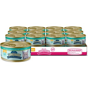 Blue Buffalo Wilderness Wild Delights Flaked Chicken & Trout Grain-Free Canned Cat Food, 5.5-oz, case of 24; Bring a little surf and turf to the table with Blue Buffalo Wilderness Wild Delights High Protein Grain Free, Natural Adult Flaked Wet Cat Food. Purr-fect for your grown-up gal, this irresistibly tasty wet food is made using only the finest naturally grain and gluten-free ingredients. It starts with high-protein chicken and trout, packed with healthy fruits and veggies, then enhanced with vitamins and minerals. Formulated to support the nutritional needs of adult cats, the exclusively wholesome ingredients do not contain any grain, gluten, by-product meals, corn, wheat, soy, artificial flavors or preservatives.