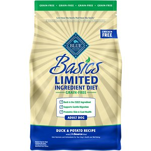 Blue Buffalo Basics Limited Ingredient Grain-Free Formula Duck & Potato Recipe Adult Dry Dog Food, 4-lb bag; Sometimes, less is more! Blue Buffalo's Basics Limited Ingredient Grain-Free Formula is a delicious, limited-ingredient diet made with fewer ingredients for adult canine companions with food sensitivities. This recipe contains a single animal protein source with real duck first and includes pumpkin and easily digested carbohydrates like potatoes and peas. It's also crafted with BLUE's exclusive LifeSource Bits—a combination of selected antioxidants, minerals and vitamins picked by veterinarians and animal nutritionists to support your dog's overall health and wellness. Now your paw-tner really has something to wag his tail about!