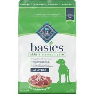 Blue Buffalo Basics Limited Ingredient Grain-Free Formula Lamb & Potato Recipe Adult Dry Dog Food, 22-lb bag; Sometimes, less is more! Blue Buffalo's Basics Limited Ingredient Grain-Free Formula is a delicious, limited-ingredient diet made with fewer ingredients for adult canine companions with food sensitivities. This recipe contains a single animal protein source with real lamb first and includes pumpkin and easily digested carbohydrates like potatoes and peas. It's also crafted with BLUE's exclusive LifeSource Bits—a combination of selected antioxidants, minerals and vitamins picked by veterinarians and animal nutritionists to support your dog's overall health and wellness. Now your paw-tner really has something to wag his tail about!