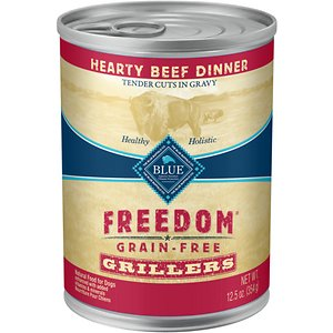Blue Buffalo Freedom Grillers Hearty Beef Dinner Grain-Free Canned Dog Food, 12.5-oz, case of 12; Serve your hound the hearty meal he needs with Blue Buffalo Freedom Grillers Grain Free Natural Adult Wet Dog Food. Paw-fect for your adult amigo, this irresistibly tasty wet food is made using only the finest naturally grain-free and wheat-free ingredients. It starts with tender chunks of high-quality beef in a savory gravy, packed with real veggies, then enhanced with vitamins and minerals. Formulated with complex carbohydrates to promote an active lifestyle, this mouthwatering dog food is made with wholesome ingredients that do not contain any wheat, grain, gluten, by-product meals, corn, soy, artificial flavors or preservatives.