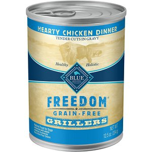 Blue Buffalo Freedom Grillers Hearty Chicken Dinner Grain-Free Canned Dog Food, 12.5-oz, case of 12; Help keep your furry friend feeling strong and healthy with Blue Buffalo Freedom Grillers Grain Free Natural Adult Wet Dog Food. Paw-fect for your grown-up guy, this irresistibly tasty wet food is made using only the finest naturally grain-free and wheat-free ingredients. It starts with tender chunks of high-quality chicken in a savory gravy, packed with real veggies, then enhanced with vitamins and minerals. Formulated with complex carbohydrates to promote an active lifestyle, this mouthwatering dog food is made with wholesome ingredients that do not contain any wheat, grain, gluten, by-product meals, corn, soy, artificial flavors or preservatives.