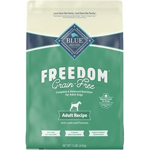 Blue Buffalo Freedom Adult Lamb Recipe Grain-Free Dry Dog Food, 11-lb bag; Is your pup sensitive to certain ingredients? Then feed him Blue Buffalo's Freedom Adult Lamb Recipe Grain-Free Dry Dog Food! This delicious, 100% grain-free and gluten-free kibble features real deboned lamb first and is completely free from any poultry by-product meals, corn, wheat, soy and artificial flavors and preservatives. It also includes BLUE's exclusive LifeSource Bits—a combination of selected antioxidants, minerals and vitamins picked by veterinarians and animal nutritionists to support your pup's overall health and wellness. Now your paw-tner really has something to wag his tail about!