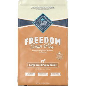 Blue Buffalo Freedom Large Breed Puppy Chicken Recipe Grain-Free Dry Dog Food, 24-lb bag; Is your large-breed puppy sensitive to certain ingredients? Then feed him Blue Buffalo's Freedom Large Breed Puppy Chicken Recipe Grain-Free Dry Dog Food! This delicious, 100% grain-free and gluten-free kibble features real chicken first and is completely free from poultry by-product meals, corn, wheat, soy and artificial flavors and preservatives. And since it's specially designed for large breed puppies, the kibble contains L-carnitine to promote lean muscles and DHA and ARA, which are fatty acids found in mother's milk and help support brain and eye development. It also includes BLUE's exclusive LifeSource Bits—a combination of selected antioxidants, minerals and vitamins picked by veterinarians and animal nutritionists to support your pup's overall health and wellness. Now your paw-tner really has something to wag his tail about!