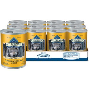 Blue Buffalo Wilderness Healthy Weight Turkey & Chicken Grill Grain-Free Adult Canned Dog Food, 12.5-oz, case of 12; Help get your best buddy feeling happy and healthy with Blue Buffalo Wilderness High Protein Grain Free, Natural Adult Healthy Weight Dog Wet Food. Paw-fect for your doggie dude, this irresistibly tasty wet food is made using only the finest naturally grain and gluten-free ingredients. It starts with high-quality protein from grilled pieces of turkey and chicken, packed with fruits and veggies, then enhanced with vitamins and minerals. Formulated with reduced calories from fat to support healthy weight management, this high-protein dog food is made with wholesome ingredients that do not contain any grain, gluten, by-product meals, corn, wheat, soy, artificial flavors or preservatives.