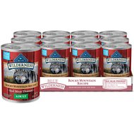 Blue Buffalo Wilderness Rocky Mountain Recipe Red Meat Dinner Adult Grain-Free Canned Dog Food, 12.5-oz, case of 12