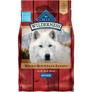 Blue Buffalo Wilderness Rocky Mountain Recipe with Red Meat Senior Grain-Free Dry Dog Food, 4-lb bag; Wolves established a diet hundreds of years ago by catching everything they consumed. Diets derived completely from the wild kept them lean, sharp and alert. Blue Wilderness Rocky Mountain Recipe with Red Meat for Seniors was created to feed that same spirit of adventure in today's dogs, with real meat, real vegetables and real fruit. Free of chicken, by-product meals, corn, wheat or soy, this high-protein food will keep your mature dog happy while maintaining his healthy, lean, build.