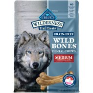 Blue Buffalo Wilderness Wild Bones Medium Dental Chews Grain-Free Dog Treats, 10-oz bag