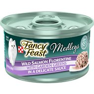 Fancy Feast Medleys Wild Salmon Florentine Canned Cat Food, 3-oz, case of 24