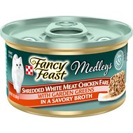 Fancy Feast Medleys Shredded White Meat Chicken Fare Canned Cat Food, 3-oz, case of 24