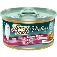 Fancy Feast Medleys Tastemakers Whitefish & Shrimp Recipe Canned Cat Food, 3-oz, case of 24