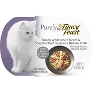 Fancy Feast Purely White Meat Chicken & Shredded Beef Wet Cat Food, 2-oz tray, case of 10