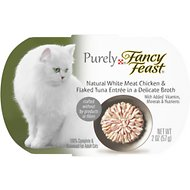 Purely Fancy Feast White Meat Chicken & Flaked Tuna Tray Cat Food, 2-oz, case of 10