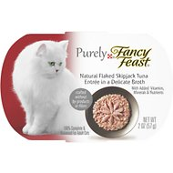 Fancy Feast Purely Flaked Skipjack Tuna Wet Cat Food, 2-oz tray, case of 10