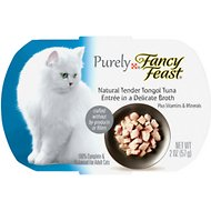 Fancy Feast Purely Tender Tongol Tuna Wet Cat Food, 2-oz tray, case of 10