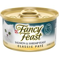 Fancy Feast Classic Salmon & Shrimp Feast Canned Cat Food, 3-oz, case of 24