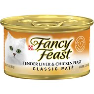 Fancy Feast Classic Tender Liver & Chicken Feast Canned Cat Food, 3-oz, case of 24