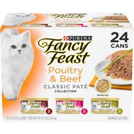 Fancy Feast Poultry & Beef Classic Pate Variety Pack Canned Cat Food, 3-oz, case of 24