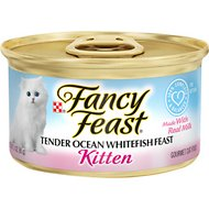 Fancy Feast Kitten Tender Ocean Whitefish Feast Canned Cat Food, 3-oz, case of 24
