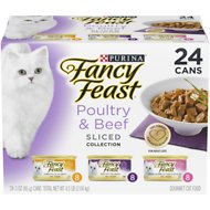 Fancy Feast Sliced Poultry & Beef Feast Variety Pack Canned Cat Food, 3-oz, case of 24
