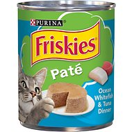 Friskies Classic Pate Ocean Whitefish & Tuna Dinner Canned Cat Food, 13-oz, case of 12