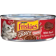 Friskies Extra Gravy Chunky with Beef in Savory Gravy Canned Cat Food, 5.5-oz, case of 24