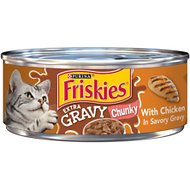 Friskies Extra Gravy Chunky with Chicken in Savory Gravy Canned Cat Food, 5.5-oz, case of 24