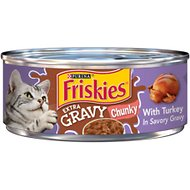 Friskies Extra Gravy Chunky with Turkey in Savory Gravy Canned Cat Food, 5.5-oz, case of 24