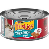 Friskies Tasty Treasures Pate Liver & Beef Wet Cat Food, 5.5-oz can, case of 24